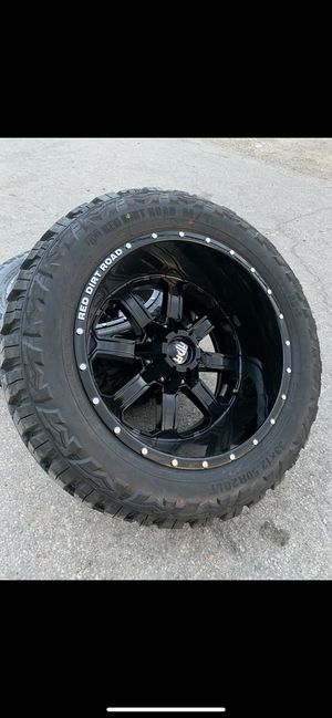 "New 20x12 Black off road rims and New tires 20"" off-road Wheels 20 Rines y Llantas Ford F150 Super Duty Chevy Silverado, GMC Sierra , Toyota Tacoma / for Sale in Dallas, TX"