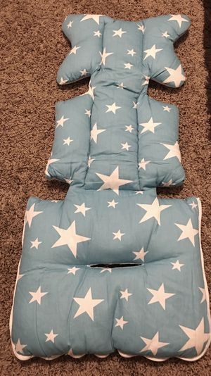 Msliy Universal Baby Stroller Cushion Infant Car Seat Liner Pure Cotton Thick Pad 13.7x30.7 Inches (Baby Blue Stars or Pink Stars) for Sale in Chandler, AZ