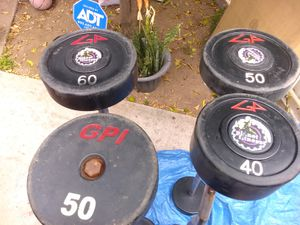 ez curl barbells and straight bar barbells rubber urethrane go & gpi for Sale in Fullerton, CA