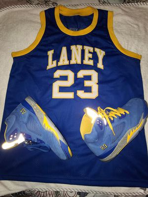 Nike jordan retro 5 laney size 10 and jersey xl for Sale in Aspen Hill, MD