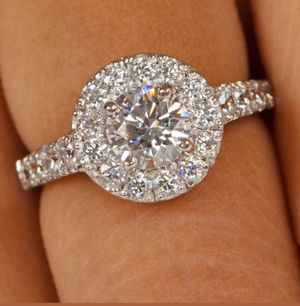 The best Quality Round Shape 3.69 ct Man Made Diamond Wedding Ring In 14KT White Gold for Sale in Ontario, CA
