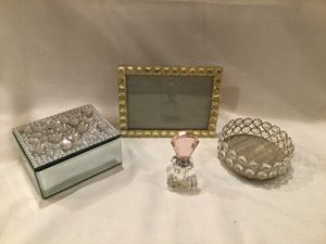 Decorative Crystal Rhinestone Accessories Frame Jewelry Box Candleholder for Sale in New Port Richey, FL