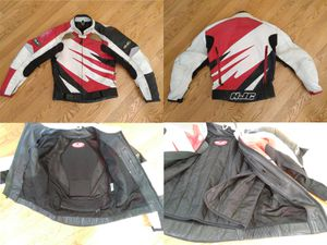 HJC Leather Motorcycle Jacket - White, Red, and Black - Mens Size 42 Medium for Sale in Fairfax, VA