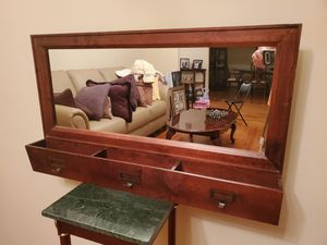 Wall Mounted Entry Wooden Framed Mirror with 3 Mail Holder Sections and Coats Hooks for Sale in Norcross, GA