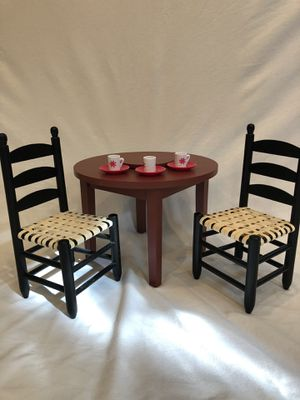 American Girl Doll dining table, two wicker chairs, with lazy Susan, tea cups, and saucers. Excellent condition. Barely used. for Sale in Portola Hills, CA