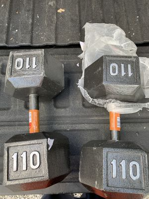 Pair of 110 pound Hex Dumbbell Weights for Sale in Columbus, OH