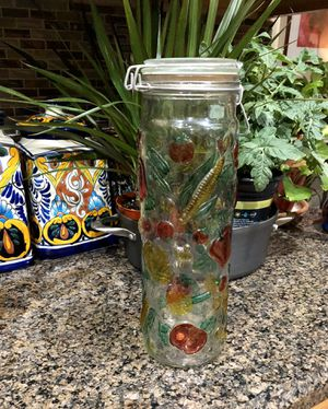 Pretty tall glass storage container with metal clasp. Great for dry pasta! ❤️ for Sale in Tolleson, AZ