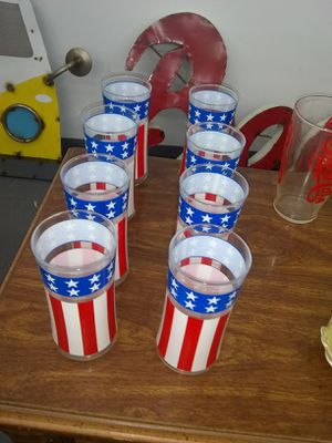 Vintage Red White and Blue Water / Tea Glasses for Sale in Ashland City, TN