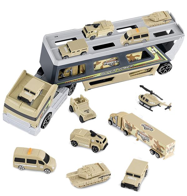 Brand new Military Truck Set, pingqian 7 in 1 Mini Die-cast Battle Car (pick up only)