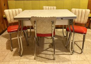 Vintage 1960s Expandable Formica Table & 4 Vinyl Red and Cream Chairs for Sale in Seattle, WA