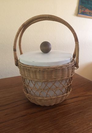 Vintage wicker covered milk glass ice bucket with lid for Sale in Seattle, WA