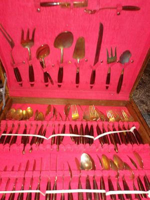 Gold plated silverware set vintage case for Sale in Tarpon Springs, FL
