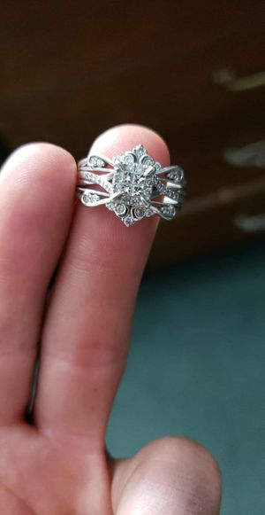 14k white gold engagement and band together for Sale in Franklin Park, IL