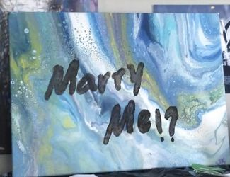 """Deep as the sea, Marry me"" painting I orginally did for friend. It is one of my favorites and Im hoping the piece will get to serve its purpose. for Sale in Waco,  TX"