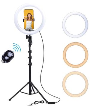 "10"" Ring Light with 75"" Tripod Stand and Phone Holder for Live Stream/Makeup, Selfie, Desktop LED Camera Beauty Ringlight for YouTube Video Recording for Sale in Whittier, CA"