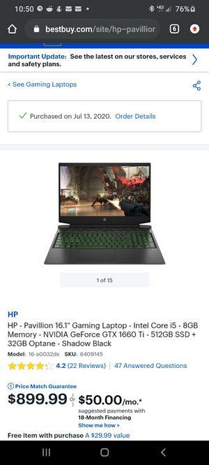 "HP - Pavillion 16.1"" Gaming Laptop - Intel Core i5 - 8GB Memory - NVIDIA GeForce GTX 1660 Ti - 512GB SSD + 32GB Optane - Shadow Black for Sale in San Francisco, CA"