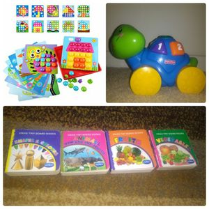 Button nail game,board book and Fisher Price turtle for Sale in Charlotte, NC