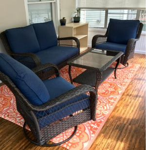 New!! Patio set , Swivel cushioned coffee table patio set, outdoor conversation set, chat set, patio furniture , blue for Sale in Phoenix, AZ