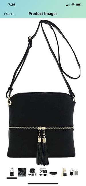 black Crossbody bags for women Lightweight Medium Classic Bag with tassel and Zipper Pocket Adjustable Strap PU leather for Sale in Raleigh, NC