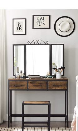 Vanity Table Set, Writing Desk, Makeup Table with Stool, 3 Drawers, Tri-Fold Mirror, Metal Frame, Industrial, Rustic Brown and Black for Sale in Corona,  CA
