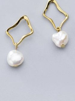 Sterling Silver 14K Gold Plated Imitation Pearl Earrings for Sale in Mount Clare,  WV