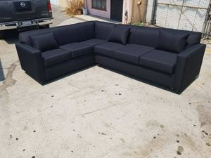 NEW 7X9FT DOMINO BLACK FABRIC SECTIONAL COUCHES for Sale in Yorba Linda, CA