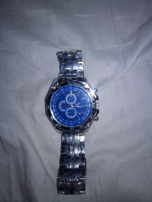 Silver plated,with blue glassed cased watch. for Sale in Hannibal, MO