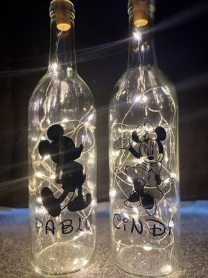 Disney Mikey & Minnie Mouse Bottle Light Set - Personalized (Handcrafted- Brand New) for Sale in Whittier, CA