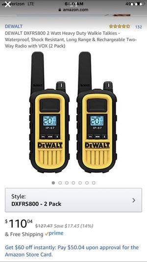 Dewalt 2 way frs radio new only used once. 2️⃣8️⃣5️⃣—2️⃣1️⃣8️⃣5️⃣ for Sale in Somerton, AZ