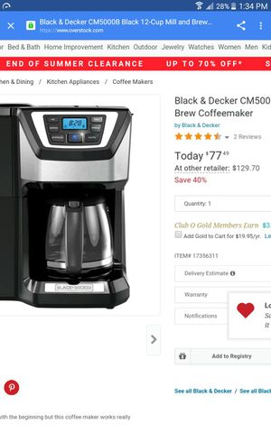 Black & Decker 12-cup programmable coffee maker for Sale in Las Vegas, NV