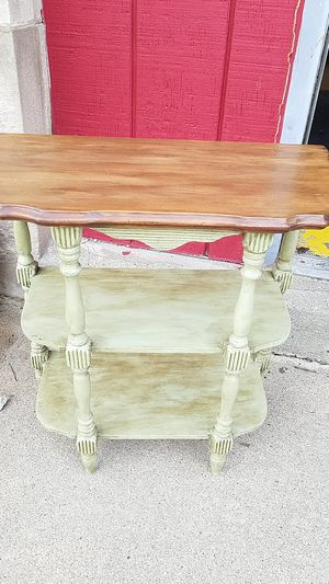 Custom shabby chic refinished vintage small table with double under Shelf for Sale in Bellwood, IL
