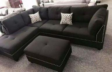 Black velvet sectional sofa with ottoman for Sale in Houston,  TX