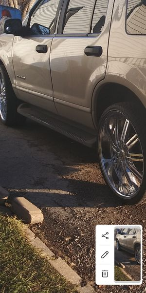 Trade for a newer cell phone and a little money 24 inch rims 5 lug Universal have minor Ben behold are not all of them have Ben though for Sale in Lake Station, IN