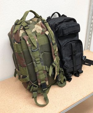 (NEW) $15 each 30L Outdoor Military Tactical Backpack Camping Hiking Trekking (Black/Camouflage) for Sale in Whittier, CA