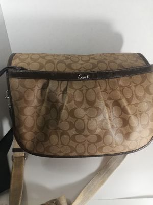 Brown and tan Coach messenger bag for Sale in Hemet, CA