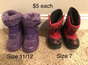 Kids snow boots size 11/12 and size 7 for Sale in Naperville, IL