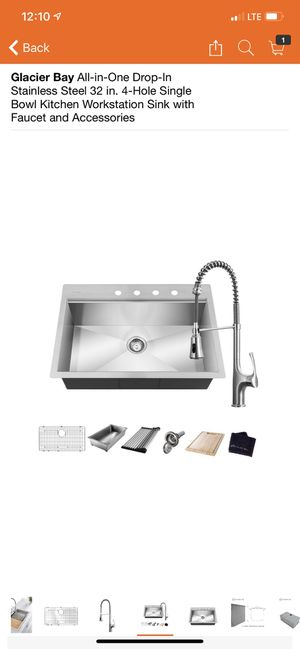 Glacier Kitchen Workstation Sink with Faucet and Accessories for Sale in Orange, CA