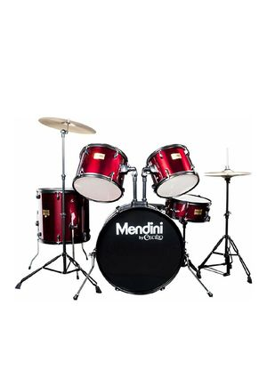 Mendini by Cecilio Complete Full Size 5-Piece Adult Drum Set with Cymbals, Pedal, Throne, and Drumsticks, Metallic Bright Red for Sale for sale  Jersey City, NJ