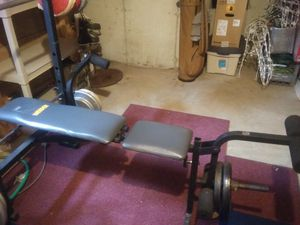Joe Weider weight bench, bar bell, dumbells and 280 lbs of weights. 160 lbs of 280 lbs is steel for Sale in Bolingbrook, IL