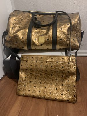 MCM Gold Metallic Duffle Bag & Cross Pouch for Sale in Los Angeles, CA