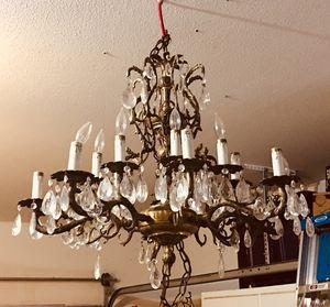 Antique 16 candelabra chandelier solid brass. for Sale in Fresno, CA