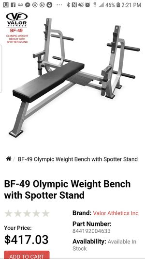 EXERCISE FITNESS VALOR OLYMPIC WEIGHT BENCH WITH SPOTTER STANDS for Sale in Long Beach, CA