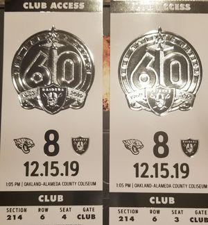 Oakland Raiders vs Jaguars Club Seat Tickets 35 yard line VIP Seats for Sale in Laton, CA