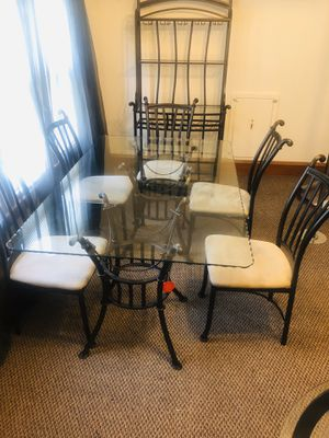 Dining room table with matching bar holds glasses upside down and holds wine and liquor for Sale in Milwaukee, WI