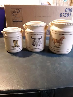 3 piece ceramic western canister set.. Never used. for Sale in Linden, PA