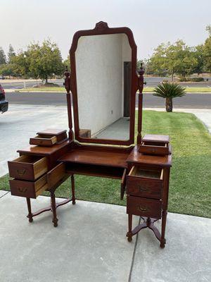 Vanity/Dresser/Desk Beautiful Wood With Mirror for Sale in Clovis, CA