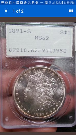 The most undergraded EVER 1891 s morgan silver dollar OGH PCGS for Sale in Orange, CA
