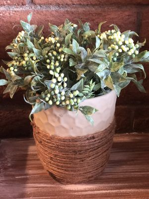 Ivory and jute planter with foliage for Sale in Cave Creek, AZ