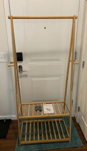 Homfa Bamboo Clothes Rack on Wheels Rolling Garment Rack with 2-Tier Storage Shelves and 4 Coat Hooks for Sale in Stamford, CT