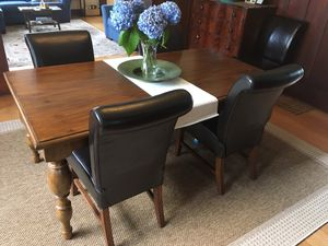 Set of six dining chairs. Dark brown for Sale in Ruston, WA